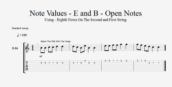 Note Values - E and B - Open Notes TAB